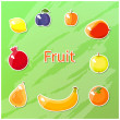 Cute pictures of different fruits — Stock Vector #68338893