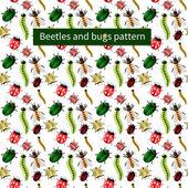 Bugs and caterpillars seamless nature pattern — Stock Vector