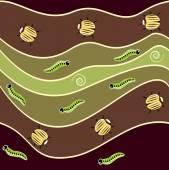Bugs, caterpillars and spirals pattern — Stock Vector
