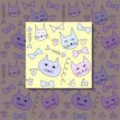 猫のシームレスなパターン — ストックベクタ