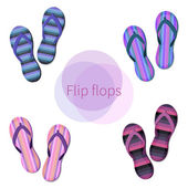 Set of bright flip-flop icons — Stock Vector