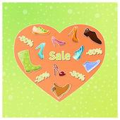 Shoes in orange heart. — Stock Vector
