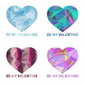 Bright geometric hearts with triangles — Vettoriale Stock