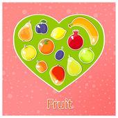 Green heart with fruits — Vector de stock
