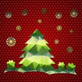 Wenskaart met kerstboom — Stockvector