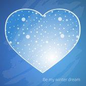 Blue card with heart — 图库矢量图片