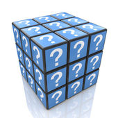 FAQ cube with a question marks — Stock Photo