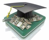 Graduation cap on US money - education costs — Stock Photo