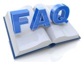 3d illustration of opened book with FAQ sign — Stock Photo