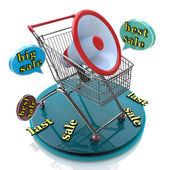 Marketing for best sales: shopping cart concept — Stock Photo