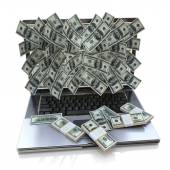 Money pouring out from laptop, Online earning — Foto Stock