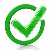 Green tick sign icon 3d. Glass check mark symbol — Stock Photo