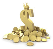 Pile of gold coins and dollar sign — Stok fotoğraf