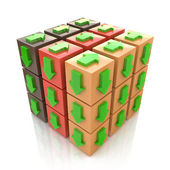 3D multicolored cube with an arrow pointing the direction. Conce — Stock Photo