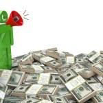 3d businessman speaking through a megaphone around money — Stock Photo #57596893