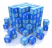 Binary code on digital blue cube, 3d image — Stock Photo