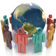 3d colorful people around the globe. Concept of global communication — Stock Photo #59743587