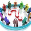 Colorful 3d people around the question mark - Solution problems — Stock Photo #59743595