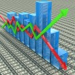 Blue bar chart and arrows depicting growth or fall of profits — Stock Photo #61579667
