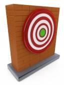 Brick wall and Red darts target aim — Stock Photo
