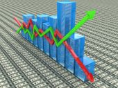 Blue bar chart and arrows depicting growth or fall of profits — Stock Photo