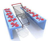 Shopping cart and red percentages — Stock Photo