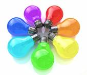 Light bulbs kaleidoscope of rainbow colors  — ストック写真