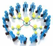 Teamwork with idea concept light bulb — Stock Photo