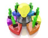 Teamwork with idea concept light bulb. Business idea — Stock Photo