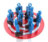 People in group stand in red target — Stock Photo