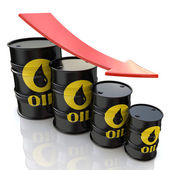 3D image showing graph of decreasing oil prices — Stock Photo