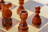 Close up from a chessboard with the tower in focus — Stockfoto