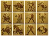 Zodiac signs on wood — Stock Photo