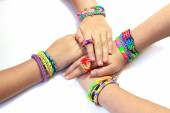 Children hobby - rainbow bracelet with rubber bands rainbow loom — Photo