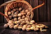 Fresh walnuts in the basket — Stock Photo