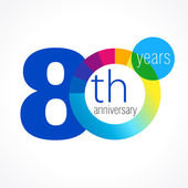 80 anniversary chart logo — Stock Vector