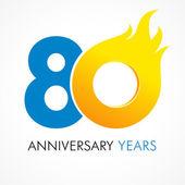 80 anniversary flame logo — Stock Vector