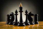 Chess face to face, first step. Copy space for text — Stock Photo