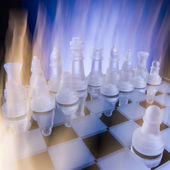 Chess face to face, first step. Copy space for text — ストック写真