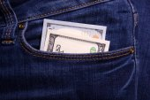 Hands holding money. Bribe in businessmen's pocket. Dollars cur — Stock Photo