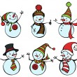 Six snowmen isolated on white background — Stock Vector #53836893