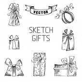 Set of vector sketch gifts. — 图库矢量图片