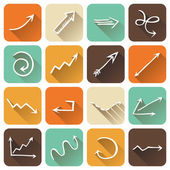 Vector set of square flat icons with long shadow.   — Stock Vector