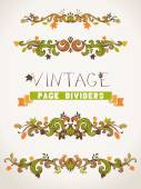 Set of vintage design elements with leaves.  — Stock Vector