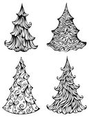 Spruces isolated on white background — Stock Vector