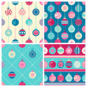 Four Christmas seamless patterns — Stock Vector