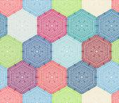 Coloured crochet hexagons. — Stock Vector