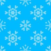 Various white crochet snowflakes on blue background.  — Stock Vector