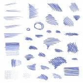 Vector set of pen strokes isolated on white background. — Stock Vector