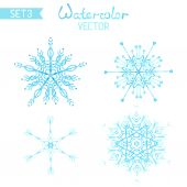 Set os watercolour snowflakes.  — Stock Vector